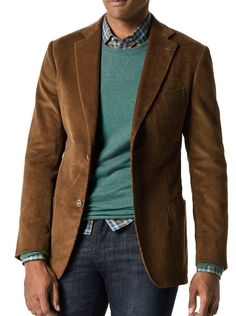 Tobacco Medium Wale Corduroy   Contact me to order: katey.wright@jhilburnpartner.com Brown Corduroy Jacket, Corduroy Blazer, Smart Casual, Men Casual, Made To Measure Suits, Cool Outfits, Casual Outfits, Preppy Look, Business Casual Men