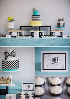 Modern dessert table ideas for a black and white wedding with splashes of teal and yellow.
