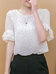 Shop berrylook Spring Summer Chiffon Women Round Neck Polka Dot Bell Sleeve Short Sleeve Blouses online!❤️Get outfit ideas & style inspiration from fashion designers at AdoreWe.com!