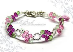 Rosy Pink Swarovski Crystal Bracelet - Sweet pink by CandyBead