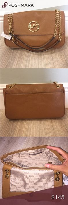 NWT Michael Kors Shoulder Bag NWT Michael Kors Shoulder Bag.  Brown leather with magnetic closure flap.  Strap can be doubled or used as single for longer length. Michael Kors Bags Shoulder Bags