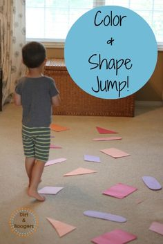 Indoor Activities for kids! Color and Shape Jump! Get them moving while practicing colors and shapes!