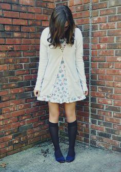 Floral dress + knee highs