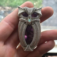 Amethyst and opal silver owl wire wrap pendant