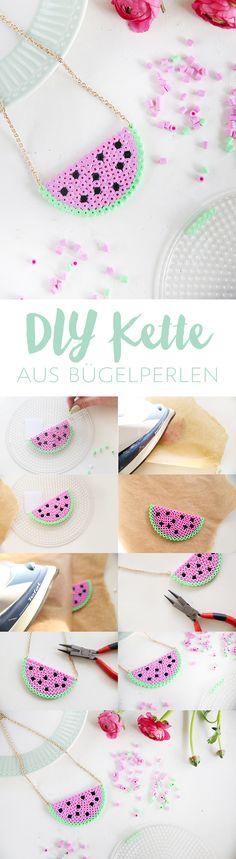 Kreative DIY-Idee zum Selbermachen: Süße Melonenkette selbstgemacht aus Bügelperlen