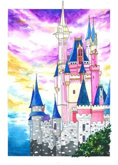 Disney Worlds Cinderella Castle Magic Kingdom Castle | Etsy Magic Kingdom Castle, Disney World Castle, Disney Worlds, Cinderella Castle, Cat Hat, Gouache Painting, Little Pony, Disney Parks, Fine Art Prints