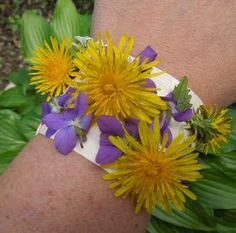 I LOVE this activity because it's super simple (even for little ones) and all that is needed is duct tape. It helps to have an adult put the tape around the child's wrist … STICKY SIDE OUT. Then the kids can go around … the backyard, a nature walk, the park, wherever … and collect natural treasures to adhere to their sticky bracelet.