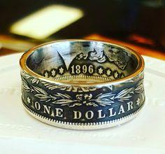 "Morgan Silver Dollar Coin Ring ""The Gamblers Dollar"" Handmade"