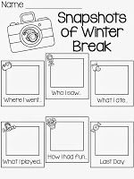 Winter writing prompts: FREE Snapshots of winter break graphic organizer writing prompt. Great for the first day returning to school. Kindergarten Writing, Teaching Writing, Writing Activities, Literacy, Kindergarten Graduation, Teaching Resources, School Holidays, School Fun, School Ideas
