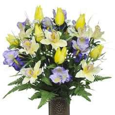 Yellow Tulips and Purple Iris with Stay-In-The-Vase ® Design Cemetery Flowers (MD1233) Flowers For Cemeteries, Inc. http://www.amazon.com/dp/B00DEHQU96/ref=cm_sw_r_pi_dp_axMJtb10X1GMJ0AW
