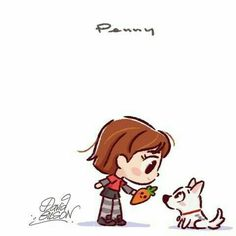 A drawing of Penny giving the squeaky carrot to Bolt