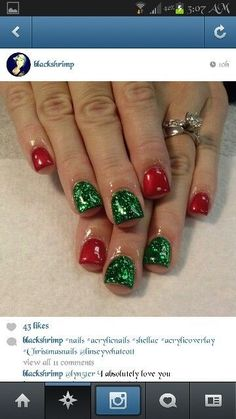 Cute Easy Nail Designs, Holiday Nail Art, Christmas Nail Art Designs, Cute Christmas Nails, Xmas Nails, Diy Nails, Valentine Nails, Shellac Nails, Stiletto Nails