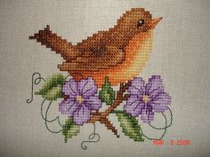 Mystery Robin SAL - Completed part One 001 by Happy 2 Sew, via Flickr Cross Stitch Cards, Cross Stitch Rose, Cross Stitch Animals, Cross Stitch Flowers, Counted Cross Stitch Patterns, Cross Stitch Designs, Cross Stitching, Cross Stitch Embroidery, Hand Embroidery Projects