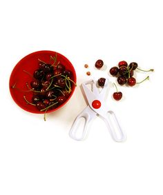 Norpro Cherry Pitter | zulily  . $5.49 $8.00 Product Description:  This tiny tool handily removes the pits from cherries making it easy to add them to ice-cream sundaes, pie fillings or salads.      3'' W x 1'' H x 8'' D     Plastic     Hand wash     Imported