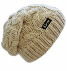 Frost Slouchy Beanie Cable Hat. Beige $17