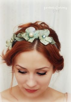 Mermaid headband, bridal flower crown, hydrangea head piece, wedding hair accessory - Watercolor dreams. $40.00, via Etsy.