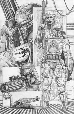 Pre-painting sketch Mechanical Pencil on Bristol Board Boba Fett Art, Star Wars Boba Fett, Star Wars Concept Art, Star Wars Fan Art, Pencil Drawing Inspiration, Star Wars Books, Star Wars Drawings, Star Wars Comics, Star Wars Tattoo