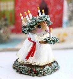 One lucky girl is chosen as Santa Lucia. Swedish Christmas, Whimsical Christmas, Prim Christmas, Scandinavian Christmas, All Things Christmas, Beautiful Christmas, Christmas Time, Vintage Christmas, Christmas Crafts