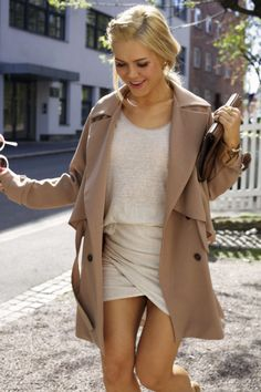 Neutral outfit. Beige wrap skirt + cream blouse + loose tan trench coat