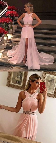 #pink #promdress #hilopromgowns #chiffon #pearls #pleats #pageant