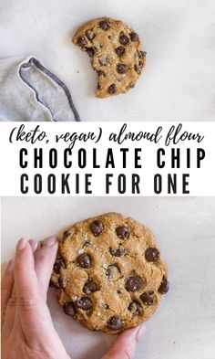 Almond flour chocolate chip cookies are dabomb dot com. If you need a low carb almond flour cookie recipe for one, this baby is for you. Recipe adaptions for keto cookies, paleo cookies, and vegan almond flour cookies. Almond Flour Chocolate Chip Cookie Recipe, Coconut Oil Cookies, Paleo Chocolate Chips, Chocolate Cookies, Almond Chocolate, Chocolate Bomb, Coconut Flour, Keto Cookies, Paleo Dessert