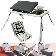 Multi-function Folding Laptop Desk Table Laptop Stand Holder With 2 USB Cooling Fans Mouse Pad Laptop Table Laptodesk For Bed Laptop Desk For Bed, Lap Desk, Laptop Stand, Adjustable Laptop Table, Adjustable Legs, Innovation, Laptop Cooling Pad, Foldable Table, Cat Stands