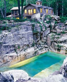 This gorgeous pool is built into a Berkshires limestone quarry in Sheffield, Massachusetts. The story of its construction is fascinating: The wealthy homeowner and the pool designers had no idea whether it would hold water. Pool Spa, Limestone Quarry, Aqua Pools, Natural Swimming Pools, Indoor Swimming, Dream Pools, Beautiful Pools, Swimming Pool Designs, Cool Pools