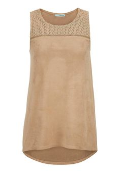 sleeveless top in faux suede with openwork #maurices