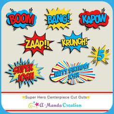 Superhero Birthday Party Printables from #AmandaCreation. Fun, bold printables to make your superhero party amazing!  Every little detail is coordinated. Love that this is just superhero in general and not a specific character!