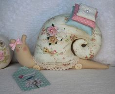 Wonder Whimsical Snail - with pattern but no instructions. A cat is also available on this page.