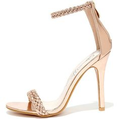 Braid for Each Other Rose Gold Ankle Strap Heels ($31) ❤ liked on Polyvore featuring shoes, pumps, gold, ankle strap pumps, high heel pumps, ankle strap shoes, star pumps and gold shoes