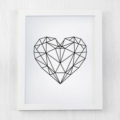 Geometric Heart printable, Digital Prints, Geometric Art Printable, Wall Decor, Scandinavian Poster, Geometric Poster, Instant Download