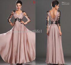 Wholesale Evening Dresses - Buy 2013 V Neck Evening Dresses Long Sleeve Appliques Pleats Chiffon Floor Length Prom Celebrity Dress, $115.41 | DHgate