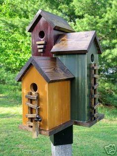 Nest Folk Art Primitive Antique Red Harvest Gold Olive Green Wood Birdhouse