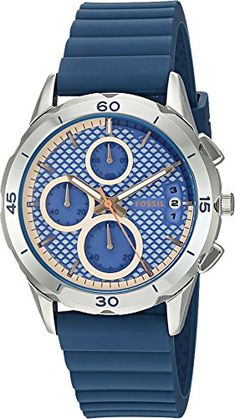 Fossil Womens ES3982 Modern Pursuit Chronograph IndigoDyed Silicone Watch ** You can get additional details at the image link.