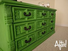 Before and after green dresser! I love how a bright color made this outdated, ornate dresser look WAY cooler!