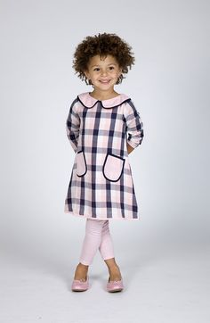 ss15: The Dragon and The Rabbit's pared-down plaid dress and leggings, in classic pink and black. www.thedragonandtherabbit.com