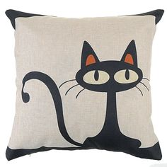 U.S. SELLER Vintage Black Cat Home Bed Decor Cushion Pillow Throw Cover Case #Handmade