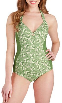 cute light #green floral swimsuit http://rstyle.me/n/idg7dr9te