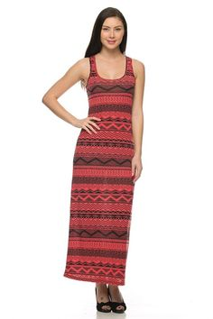 Sleeveless Mixed Print Racerback Maxi Dress