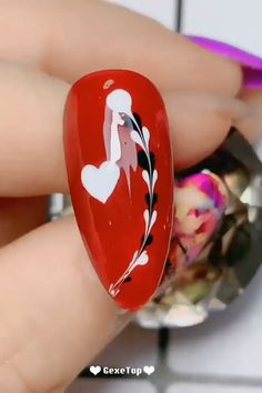 nail designs easy step by step ; nail designs easy step by step at home ; Nail Art Designs Videos, Red Nail Designs, Nail Art Videos, Nail Art Hacks, Nail Art Diy, Easy Nail Art, Red Nail Art, Red Nails, Valentine Nail Art
