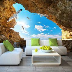 Wallpaper Blue Sky White Clouds Mural For Living Room Bedroom Ceiling Modern - Wallpaper World Wallpaper World, 3d Wallpaper Design, 3d Wallpaper For Walls, Ocean Wallpaper, Home Wallpaper, Designer Wallpaper, Bedroom Wallpaper, Wallpaper Wallpapers, Custom Wallpaper