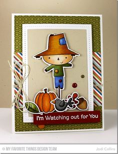 Fall Friends Stamp Set and Die-namics, Lined Up Dots Background, Single Stitch Line Rectangle Frames Die-namics - Jodi Collins #mftstamps
