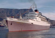 WINDSOR CASTLE  ~ Cape Town 1977 departing on her final voyage as a Union Castle mail liner.