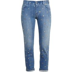 Stella Mccartney Polka-Dot Boyfriend Jeans ($550) ❤ liked on Polyvore featuring jeans, pants, bottoms, trousers, calças, relaxed boyfriend jeans, light wash jeans, blue jeans, light wash boyfriend jeans and boyfriend fit jeans