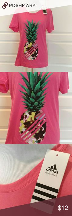 NWT Adidas pineapple t-shirt Neon pink Adidas the go-to performance tee,  brand new with tags. Adidas Tops Tees - Short Sleeve
