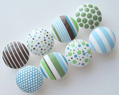 Items similar to Hand Painted Dresser Drawer Knobs Olive and Blue Polka Dots and Stripes - Size 1 3/4 inches-Set of 8 on Etsy