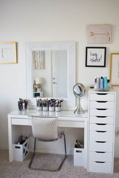 Makeup Storage and Organization: Tips and Ideas Makeup Storage and Organization: Tips and Ideas,VANITY ORGANIZATION Makeup Storage and Organization: Tips and Ideas – Beauty and the Bench Press Related posts:The History of Eyeshadow. Makeup Storage For Small Spaces, Room Ideas Bedroom, Bedroom Decor, Ikea Room Ideas, Bedroom Mirrors, Bedroom Small, Rangement Makeup, Makeup Storage Organization, Organization Ideas