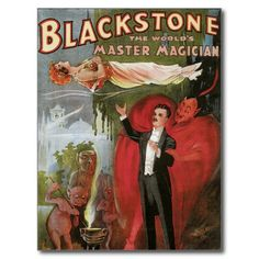 Blackstone Master Magician Vintage Magic Poster Postcard