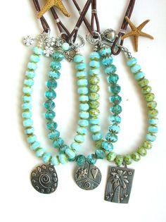 Boho leather leather necklace Island Girls artisan by 3DivasStudio, $93.00